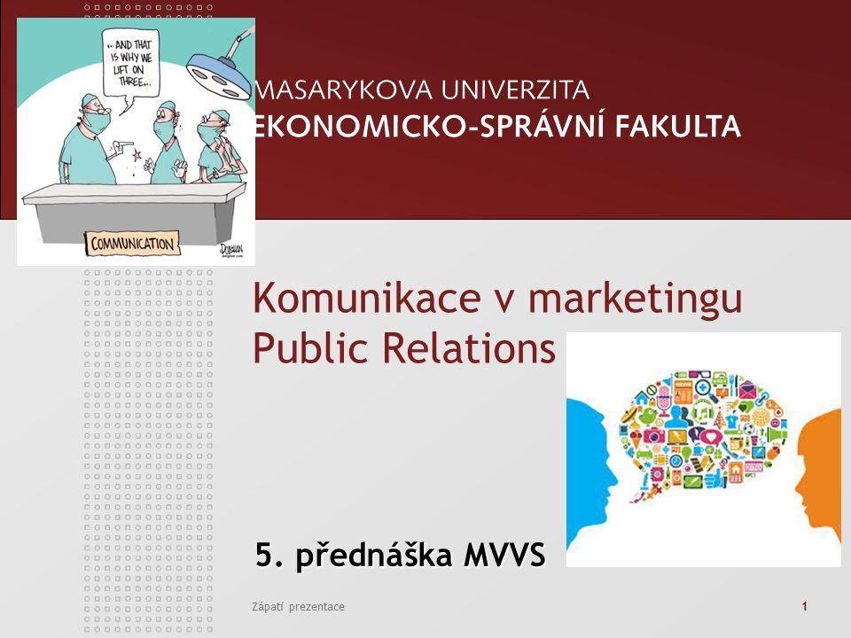 Zápatí prezentace1 5. přednáška MVVS 5. přednáška MVVS Komunikace v marketingu Public Relations