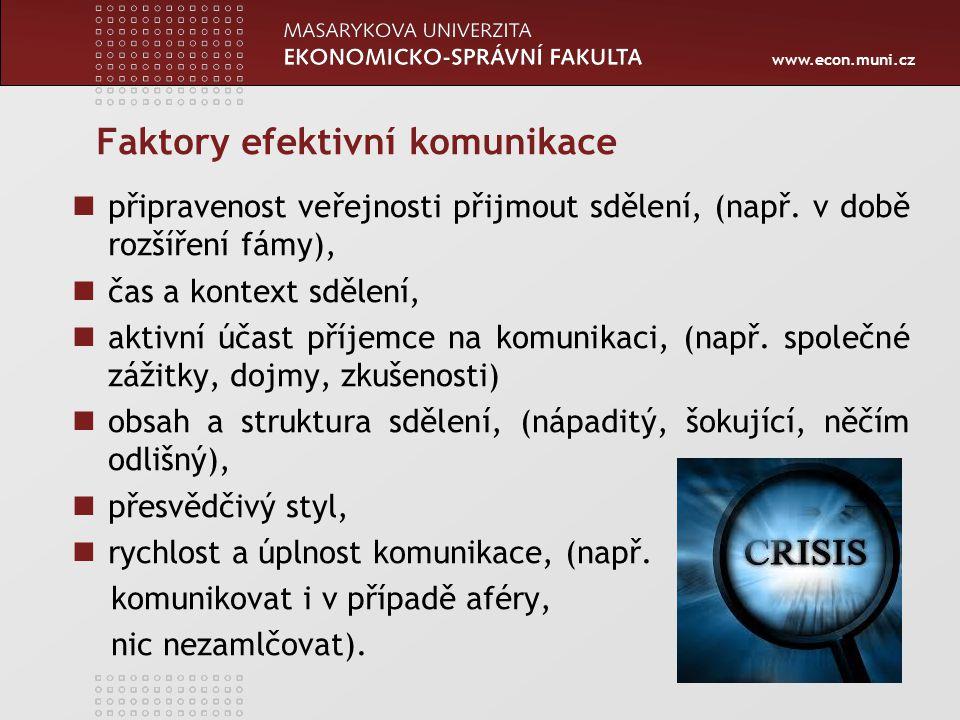www.econ.muni.cz Faktory efektivní komunikace připravenost veřejnosti přijmout sdělení, (např.