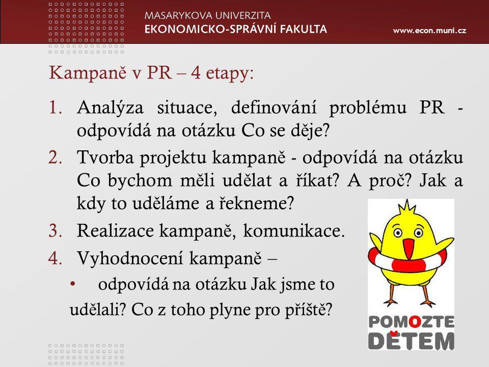 www.econ.muni.cz Kampan ě v PR – 4 etapy: 1.Analýza situace, definování problému PR - odpovídá na otázku Co se d ě je.