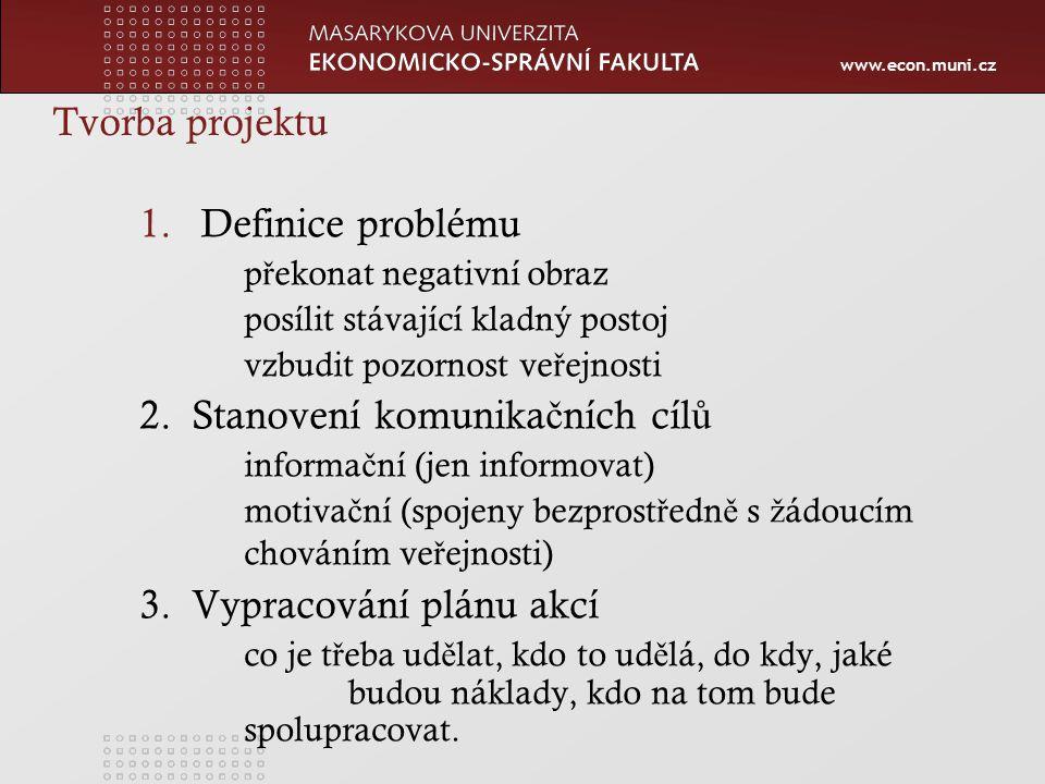 www.econ.muni.cz Tvorba projektu 1.Definice problému p ř ekonat negativní obraz posílit stávající kladný postoj vzbudit pozornost ve ř ejnosti 2.