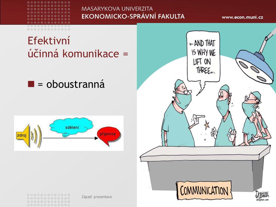 www.econ.muni.cz Efektivní účinná komunikace = = oboustranná Zápatí prezentace 4
