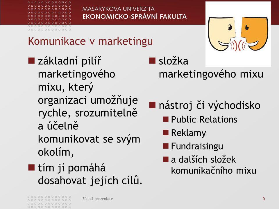 www.econ.muni.cz Komunikace v marketingu základní pilíř marketingového mixu, který organizaci umožňuje rychle, srozumitelně a účelně komunikovat se svým okolím, tím jí pomáhá dosahovat jejích cílů.