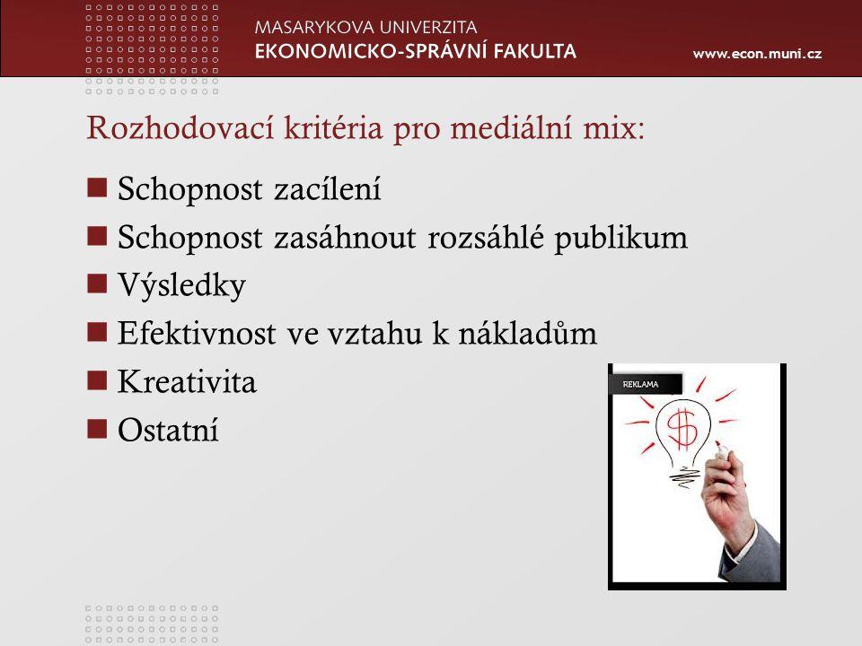 www.econ.muni.cz Rozhodovací kritéria pro mediální mix: Schopnost zacílení Schopnost zasáhnout rozsáhlé publikum Výsledky Efektivnost ve vztahu k náklad ů m Kreativita Ostatní