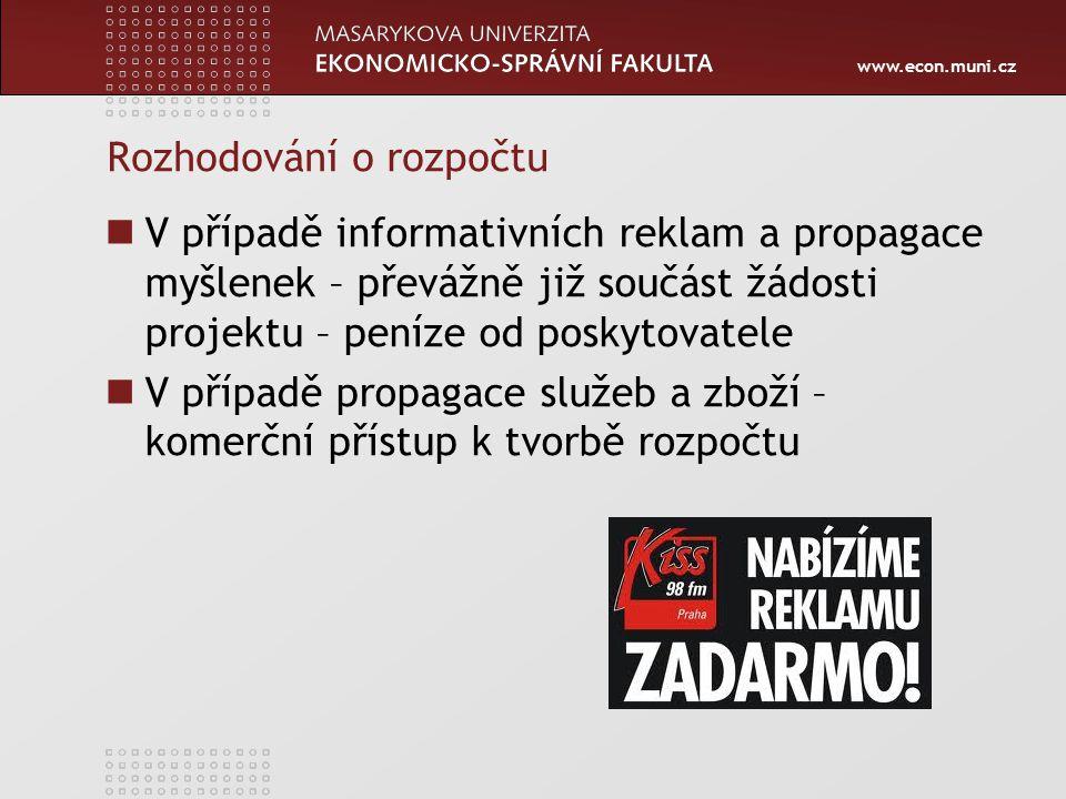 www.econ.muni.cz Rozhodování o rozpočtu V případě informativních reklam a propagace myšlenek – převážně již součást žádosti projektu – peníze od poskytovatele V případě propagace služeb a zboží – komerční přístup k tvorbě rozpočtu