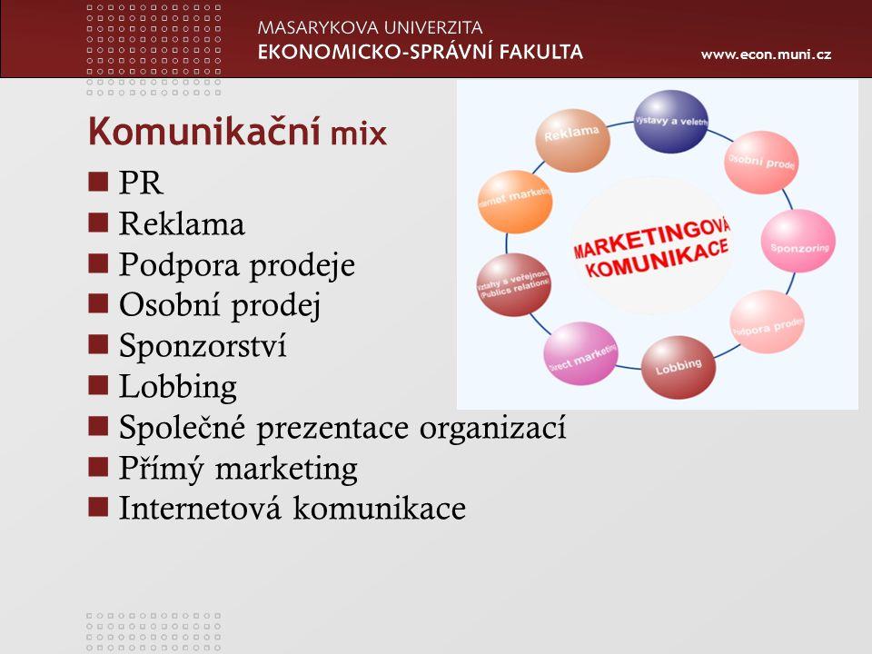 www.econ.muni.cz Komunikační mix PR Reklama Podpora prodeje Osobní prodej Sponzorství Lobbing Spole č né prezentace organizací P ř ímý marketing Internetová komunikace