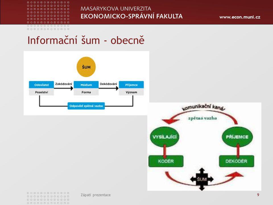 www.econ.muni.cz Informační šum - obecně Zápatí prezentace 9