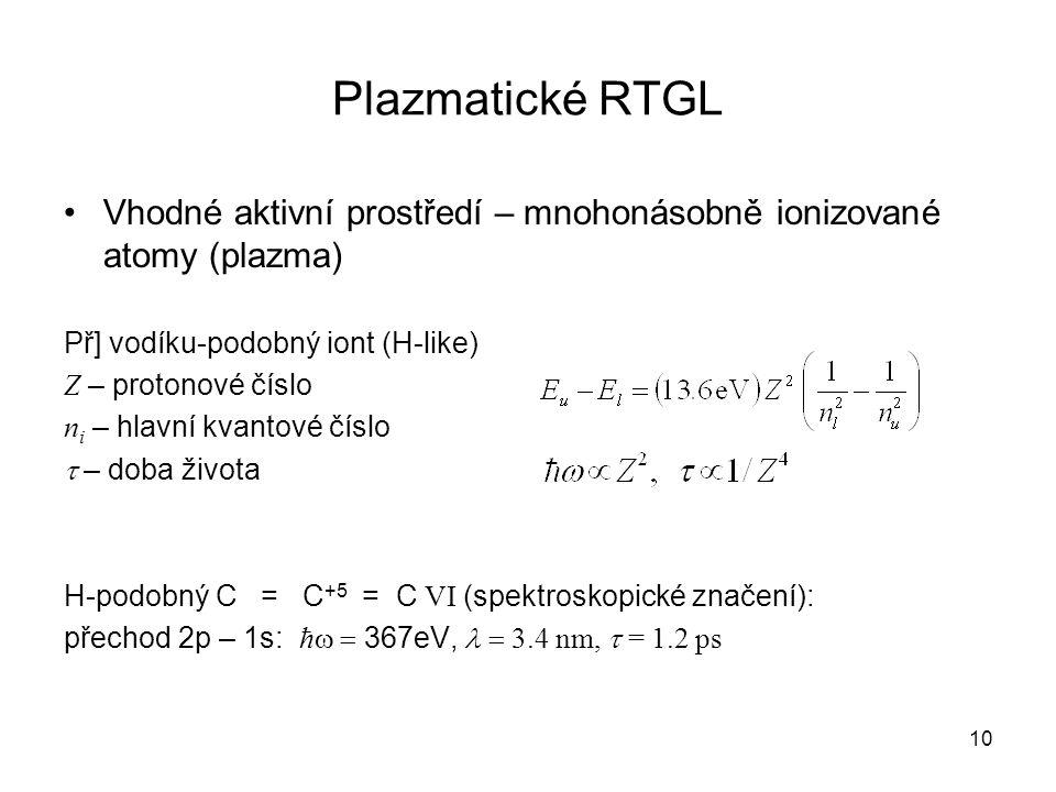 Plazmatické RTGL Vhodné aktivní prostředí – mnohonásobně ionizované atomy (plazma) Př] vodíku-podobný iont (H-like) Z – protonové číslo n i – hlavní k
