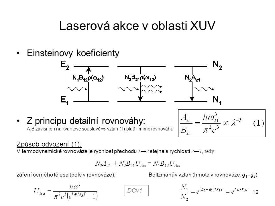Laserová akce v oblasti XUV Einsteinovy koeficienty Z principu detailní rovnováhy: A,B závisí jen na kvantové soustavě  vztah (1) platí i mimo rovnov