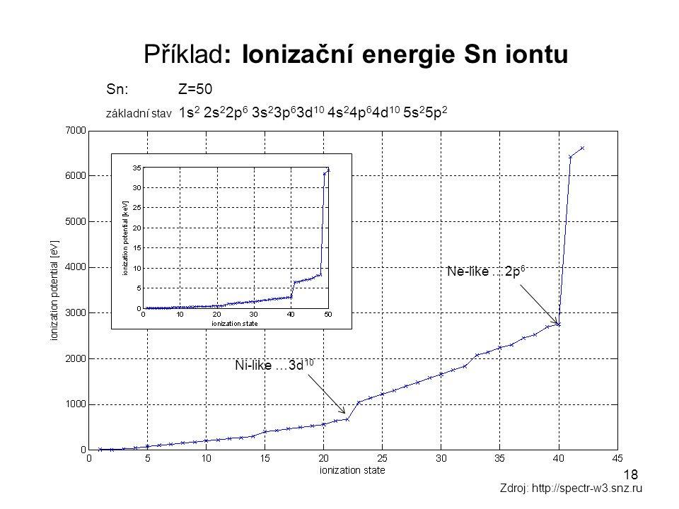 Příklad: Ionizační energie Sn iontu Sn: Z=50 základní stav 1s 2 2s 2 2p 6 3s 2 3p 6 3d 10 4s 2 4p 6 4d 10 5s 2 5p 2 Zdroj: http://spectr-w3.snz.ru Ni-