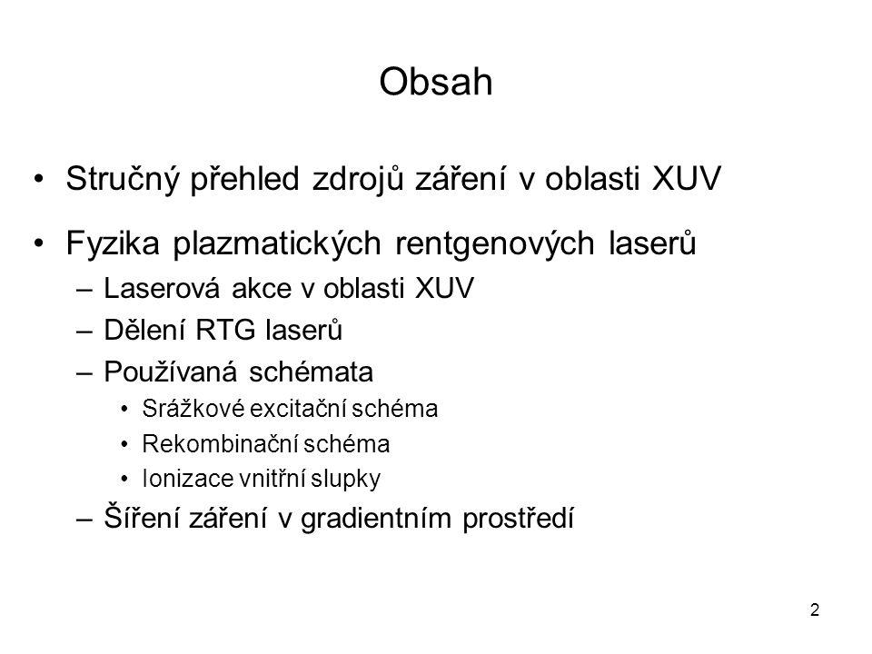 Obsah Stručný přehled zdrojů záření v oblasti XUV Fyzika plazmatických rentgenových laserů –Laserová akce v oblasti XUV –Dělení RTG laserů –Používaná