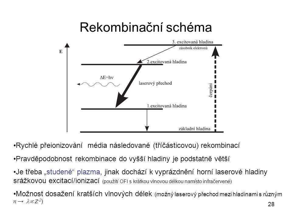 Rekombinační schéma Rychlé přeionizování média následované (tříčásticovou) rekombinací Pravděpodobnost rekombinace do vyšší hladiny je podstatně větší