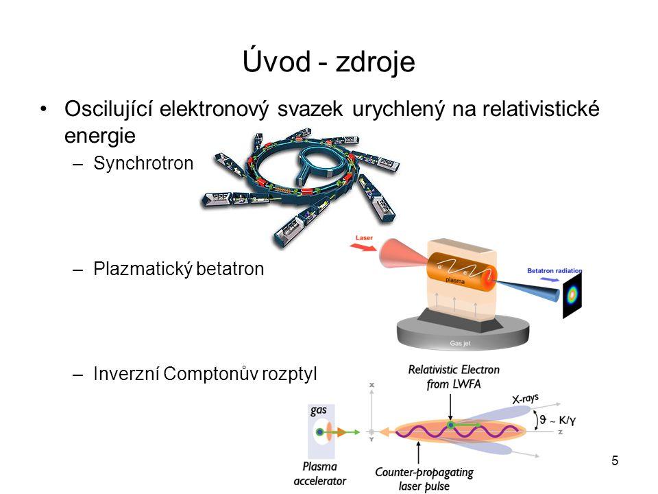 Úvod - zdroje Oscilující elektronový svazek urychlený na relativistické energie –Synchrotron –Plazmatický betatron –Inverzní Comptonův rozptyl 5