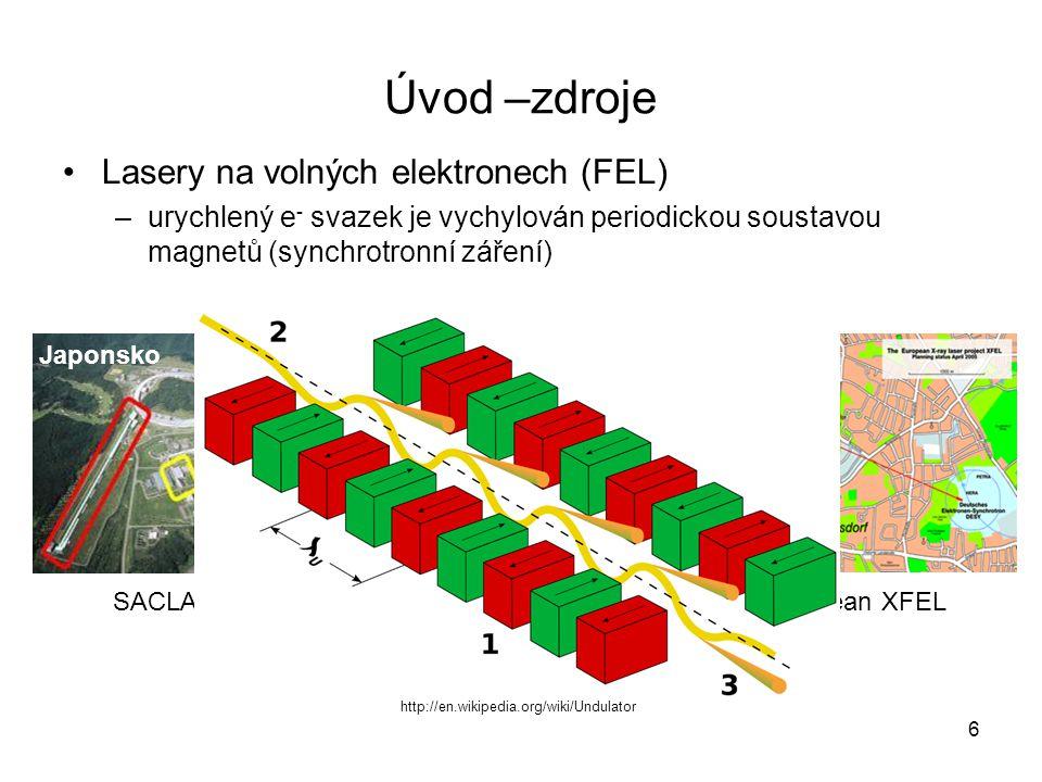 Úvod - zdroje Urychlené elektrony bržděné v materiálu –Rentgenka –Plazmatický zdroj K-alfa záření 7