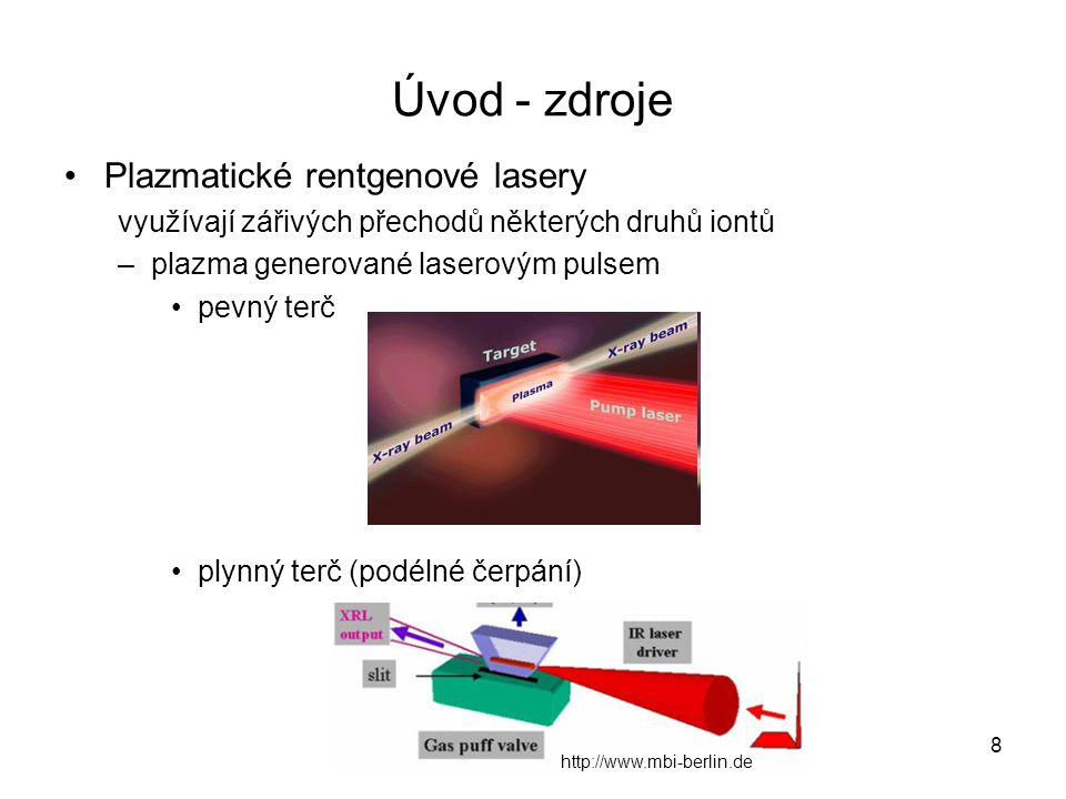 Úvod - zdroje Plazmatické rentgenové lasery využívají zářivých přechodů některých druhů iontů –plazma generované laserovým pulsem pevný terč plynný te