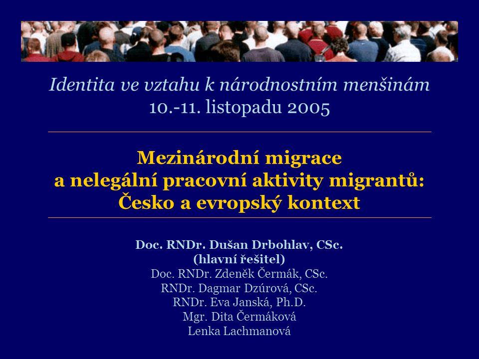 Mezinárodní migrace a nelegální pracovní aktivity migrantů: Česko a evropský kontext Identita ve vztahu k národnostním menšinám 10.-11.