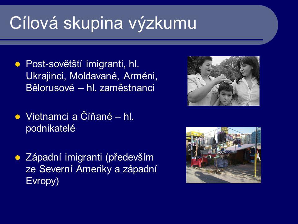 Cílová skupina výzkumu Post-sovětští imigranti, hl. Ukrajinci, Moldavané, Arméni, Bělorusové – hl. zaměstnanci Vietnamci a Číňané – hl. podnikatelé Zá