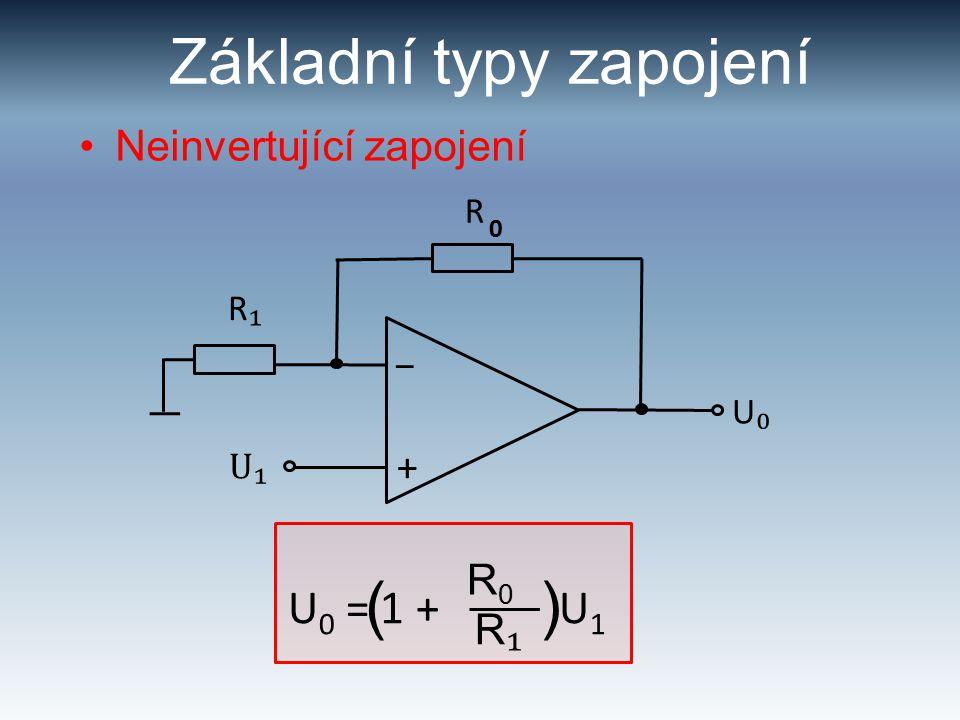 Základní typy zapojení Neinvertující zapojení R 0 R0R0 U 0 = 1 + U 1 R₁R₁ U₁ R₁R₁ + – U₀U₀ ()