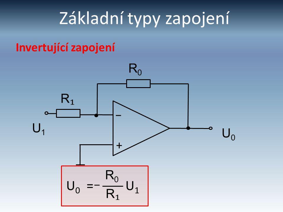Základní typy zapojení Invertující zapojení + – R0R0 R₁R₁ U1U1 U0U0 U 0 = U 1 R₁R₁ R0R0 –