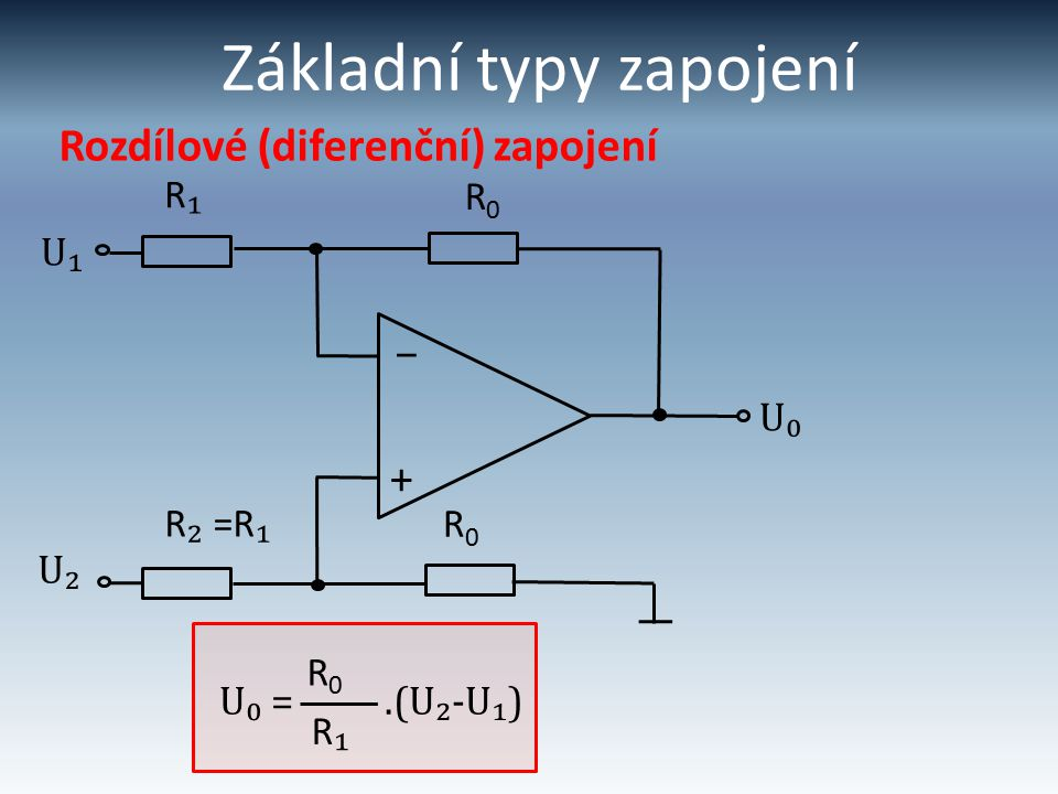 Základní typy zapojení Rozdílové (diferenční) zapojení R0R0 U₁ R₁R₁ + – U₀ R0R0 R ₂ =R ₁ R0R0 U₂ R₁R₁ U₀ =.(U₂-U₁)