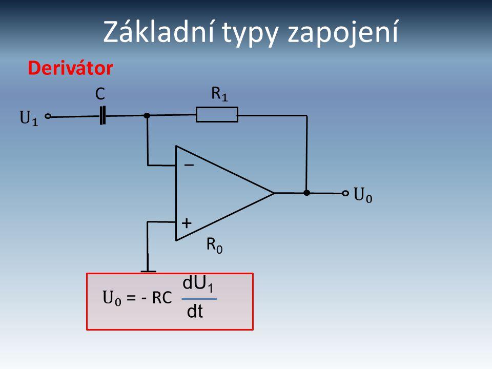Základní typy zapojení Derivátor U₁ R₁R₁ + – U₀ C R0R0 U₀ = - RC dt dU 1