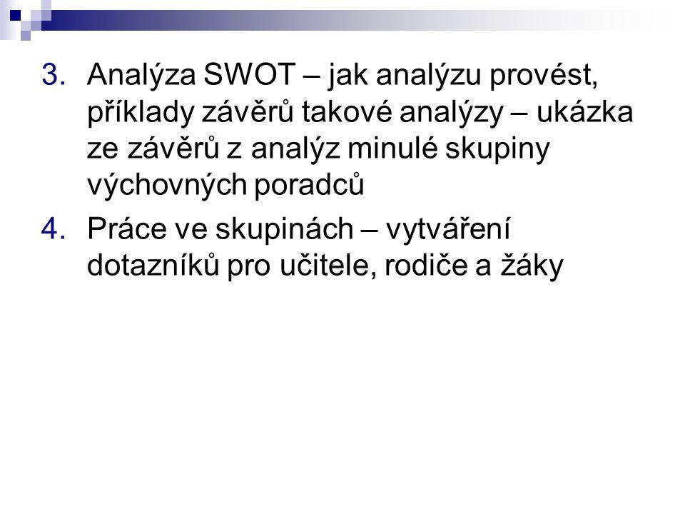 3.Analýza SWOT – jak analýzu provést, příklady závěrů takové analýzy – ukázka ze závěrů z analýz minulé skupiny výchovných poradců 4.Práce ve skupinách – vytváření dotazníků pro učitele, rodiče a žáky