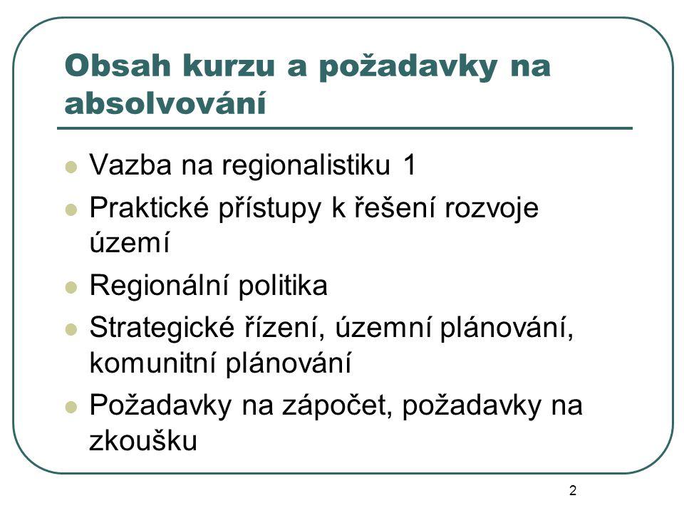 Obsah kurzu a požadavky na absolvování Vazba na regionalistiku 1 Praktické přístupy k řešení rozvoje území Regionální politika Strategické řízení, územní plánování, komunitní plánování Požadavky na zápočet, požadavky na zkoušku 2