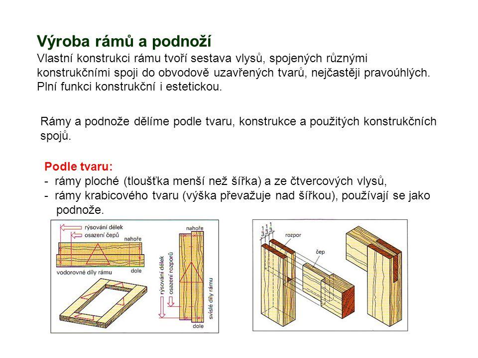 Výroba rámů a podnoží Vlastní konstrukci rámu tvoří sestava vlysů, spojených různými konstrukčními spoji do obvodově uzavřených tvarů, nejčastěji prav
