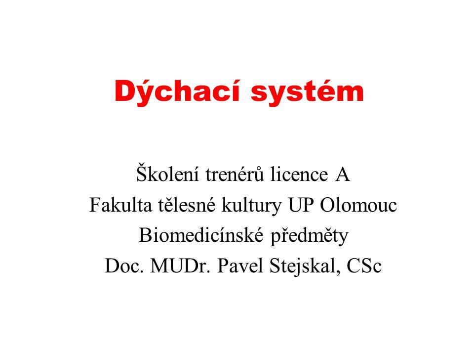 Dýchací systém Školení trenérů licence A Fakulta tělesné kultury UP Olomouc Biomedicínské předměty Doc.