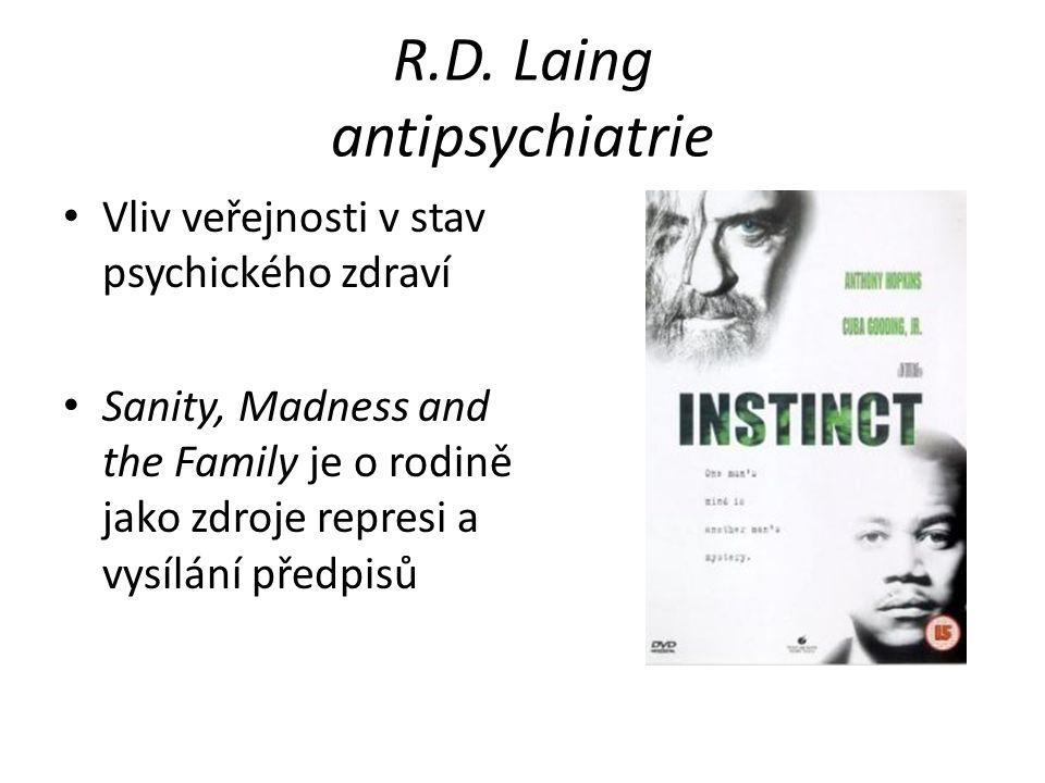R.D. Laing antipsychiatrie Vliv veřejnosti v stav psychického zdraví Sanity, Madness and the Family je o rodině jako zdroje represi a vysílání předpis