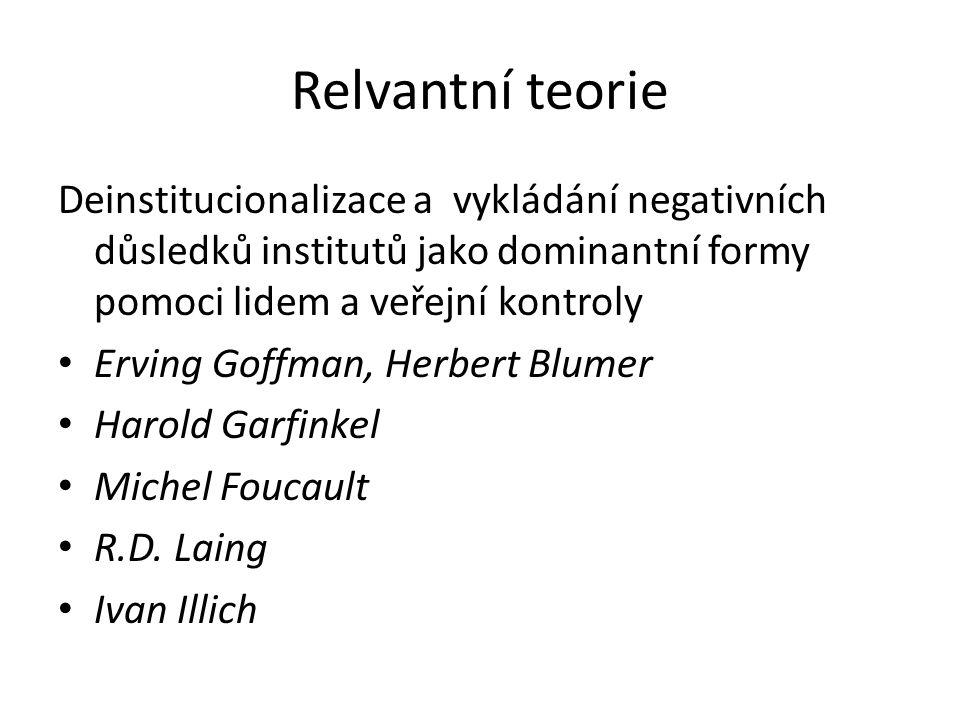 Relvantní teorie Deinstitucionalizace a vykládání negativních důsledků institutů jako dominantní formy pomoci lidem a veřejní kontroly Erving Goffman, Herbert Blumer Harold Garfinkel Michel Foucault R.D.
