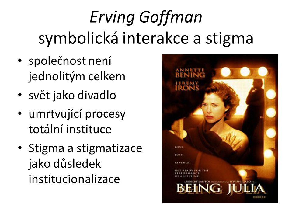 Erving Goffman symbolická interakce a stigma společnost není jednolitým celkem svět jako divadlo umrtvující procesy totální instituce Stigma a stigmatizace jako důsledek institucionalizace
