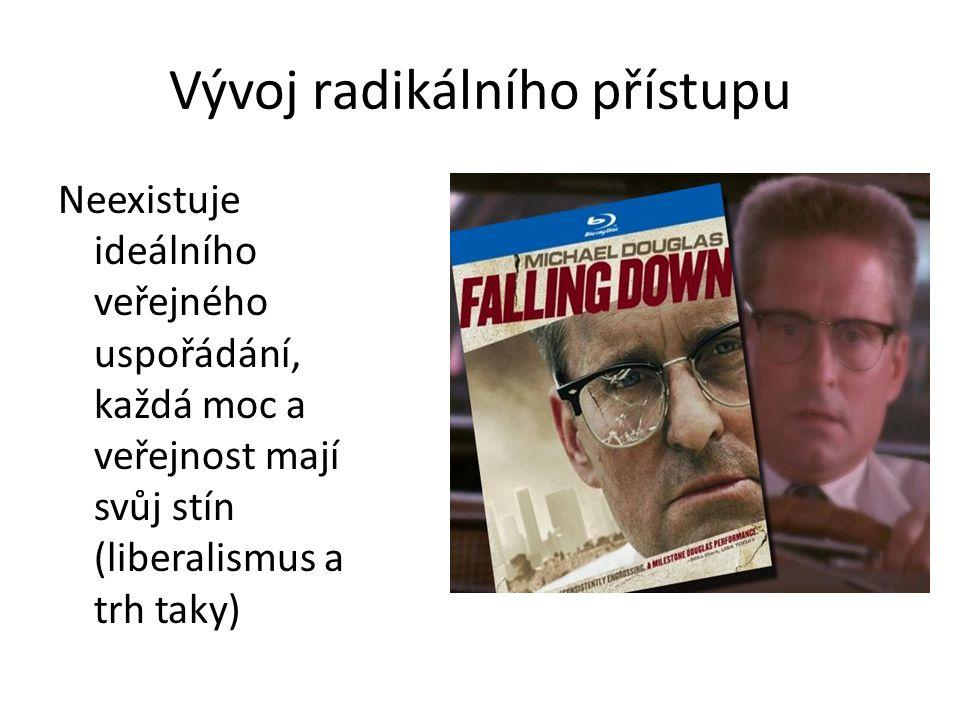 Vývoj radikálního přístupu Neexistuje ideálního veřejného uspořádání, každá moc a veřejnost mají svůj stín (liberalismus a trh taky)
