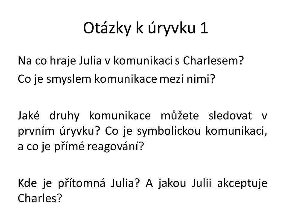 Otázky k úryvku 1 Na co hraje Julia v komunikaci s Charlesem.