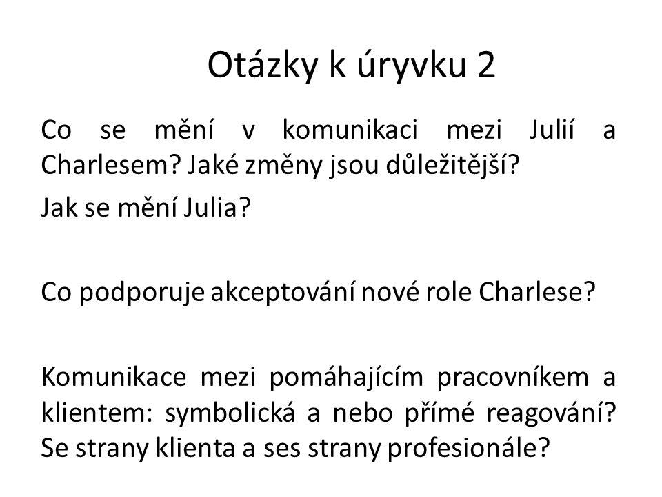 Otázky k úryvku 2 Co se mění v komunikaci mezi Julií a Charlesem.
