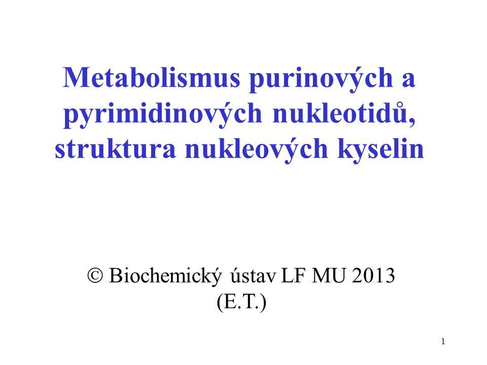 1 Metabolismus purinových a pyrimidinových nukleotidů, struktura nukleových kyselin  Biochemický ústav LF MU 2013 (E.T.)