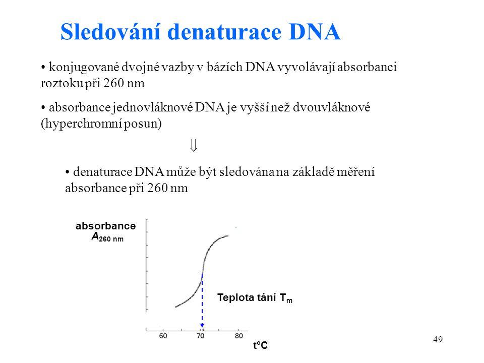 49 Sledování denaturace DNA konjugované dvojné vazby v bázích DNA vyvolávají absorbanci roztoku při 260 nm absorbance jednovláknové DNA je vyšší než d