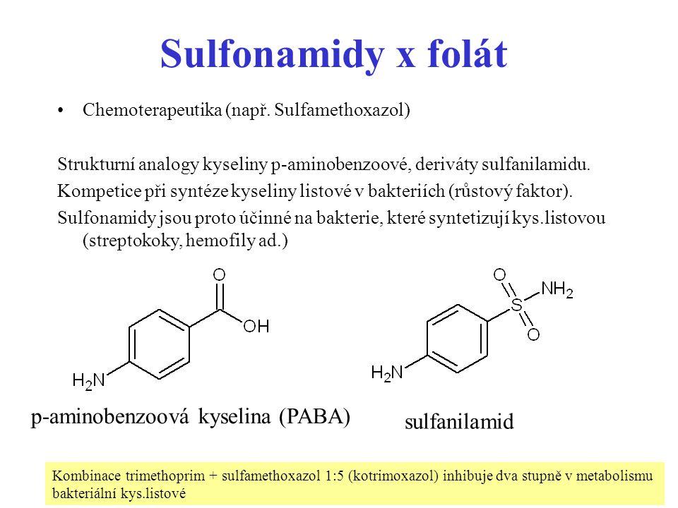 61 Sulfonamidy x folát Chemoterapeutika (např. Sulfamethoxazol) Strukturní analogy kyseliny p-aminobenzoové, deriváty sulfanilamidu. Kompetice při syn