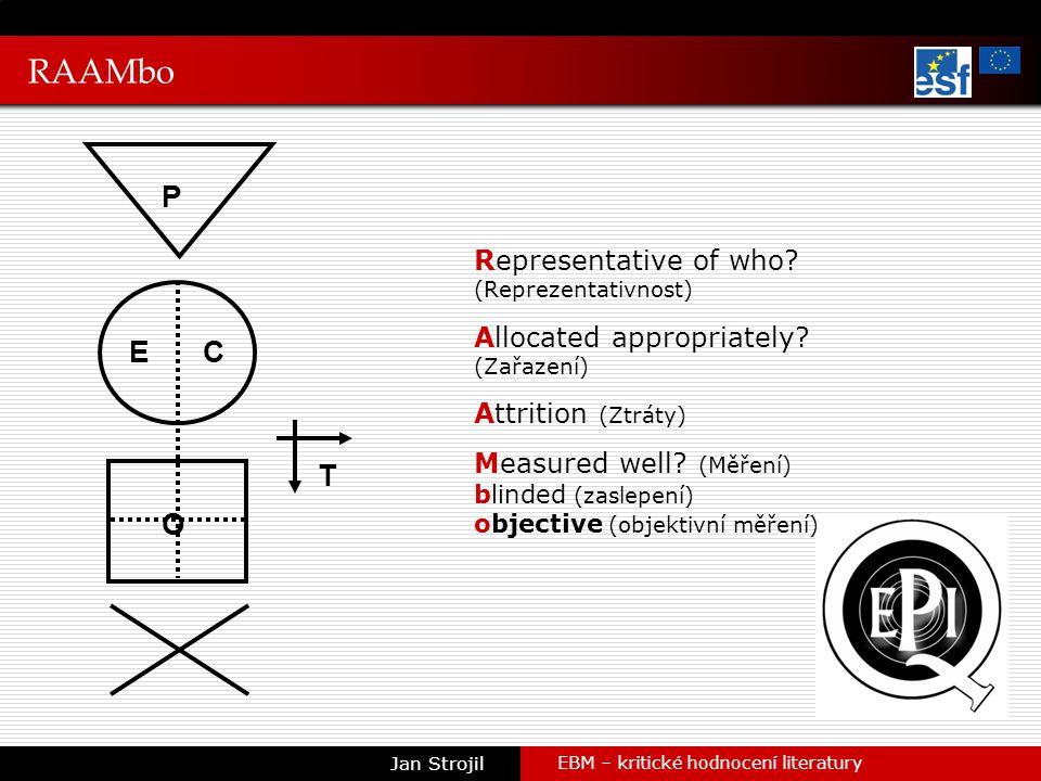 RAAMbo EBM – kritické hodnocení literatury Jan Strojil P EC T O Representative of who.