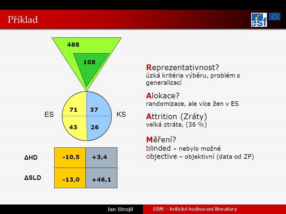 Příklad EBM – kritické hodnocení literatury Jan Strojil ES ΔHD ΔSLD KS 488 37 4326 -10,5 -13,0 +3,4 +46,1 71 108 Reprezentativnost.