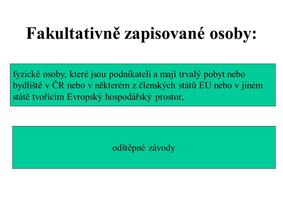 Fakultativně zapisované osoby: fyzické osoby, které jsou podnikateli a mají trvalý pobyt nebo bydliště v ČR nebo v některém z členských států EU nebo