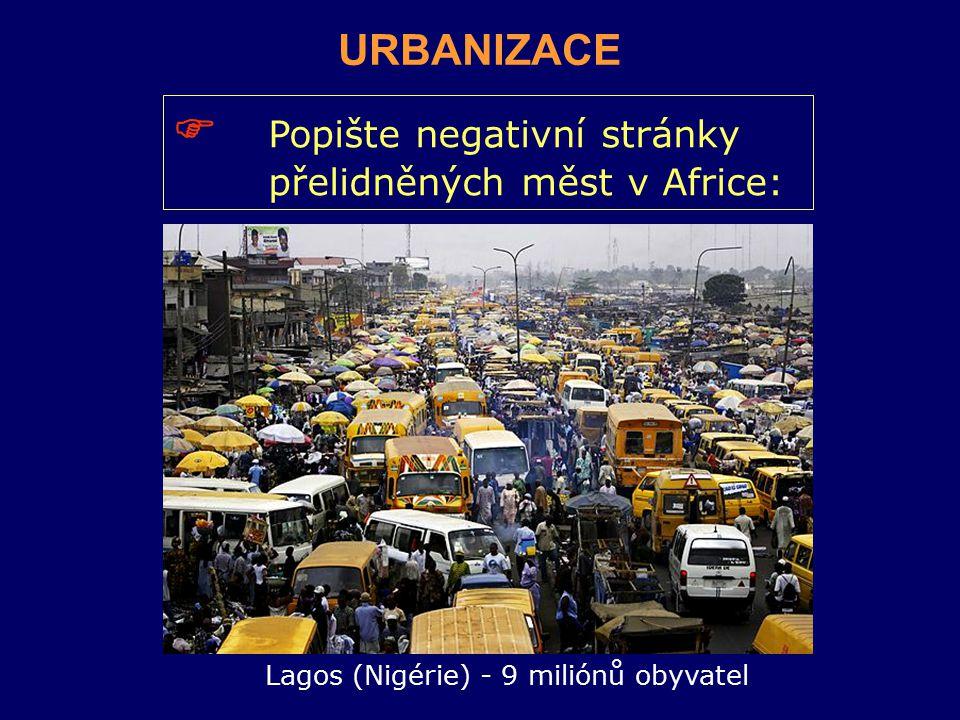  Popište negativní stránky přelidněných měst v Africe: Lagos (Nigérie) - 9 miliónů obyvatel URBANIZACE