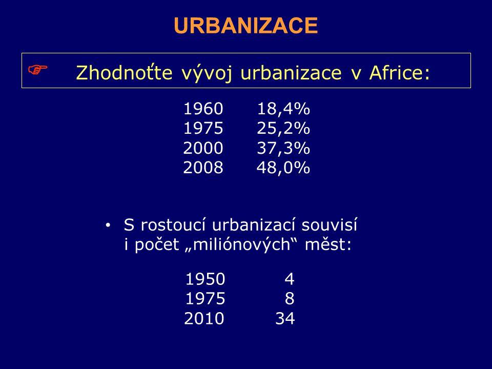 """196018,4% 197525,2% 200037,3% 200848,0% 1950 4 1975 8 2010 34 URBANIZACE  Zhodnoťte vývoj urbanizace v Africe: S rostoucí urbanizací souvisí i počet """"miliónových měst:"""