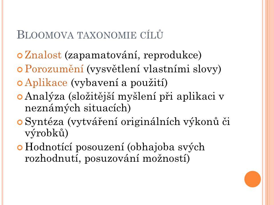 B LOOMOVA TAXONOMIE CÍLŮ Znalost (zapamatování, reprodukce) Porozumění (vysvětlení vlastními slovy) Aplikace (vybavení a použití) Analýza (složitější