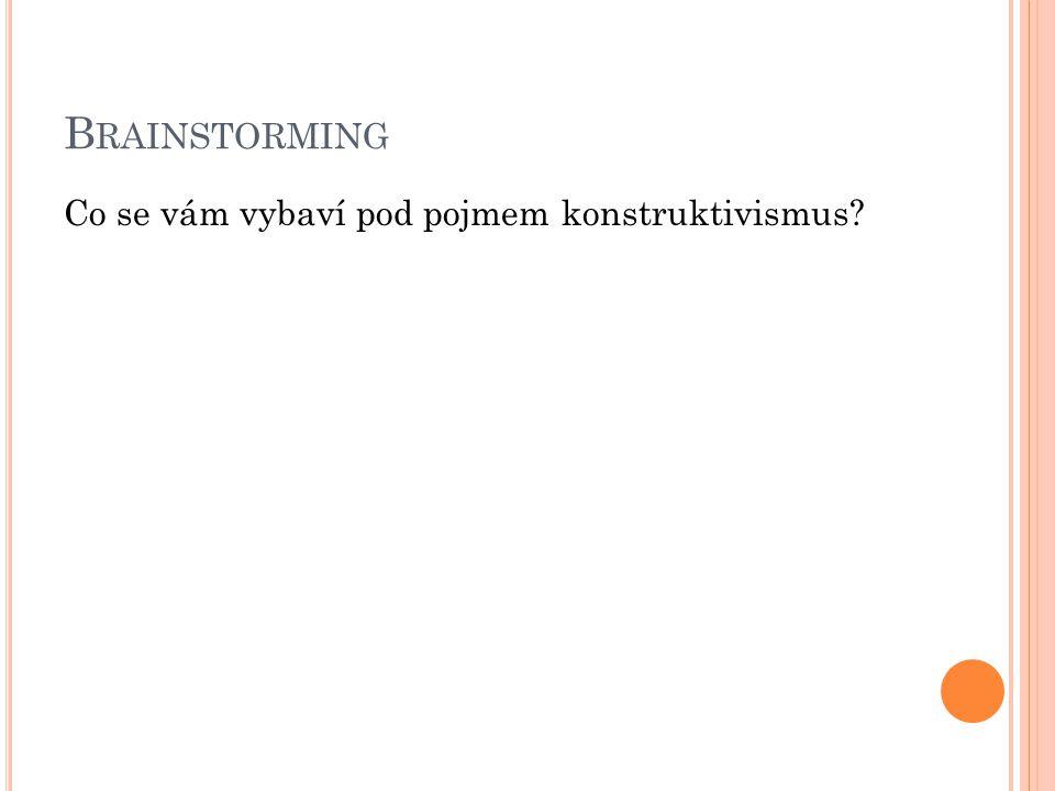B RAINSTORMING Co se vám vybaví pod pojmem konstruktivismus?