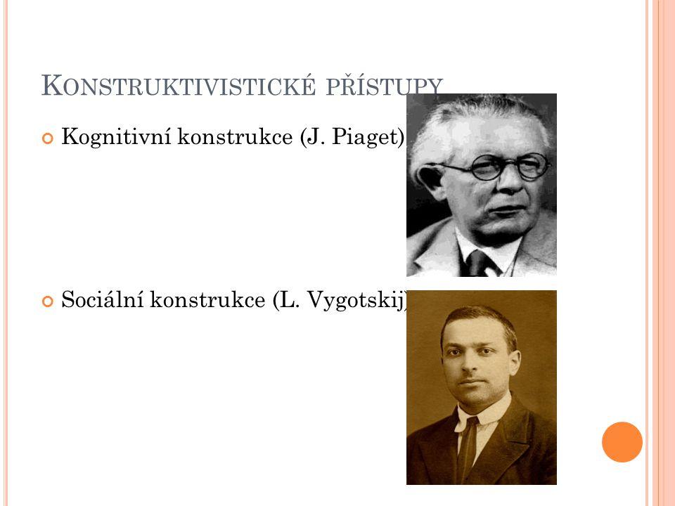 K ONSTRUKTIVISTICKÉ PŘÍSTUPY Kognitivní konstrukce (J. Piaget) Sociální konstrukce (L. Vygotskij)