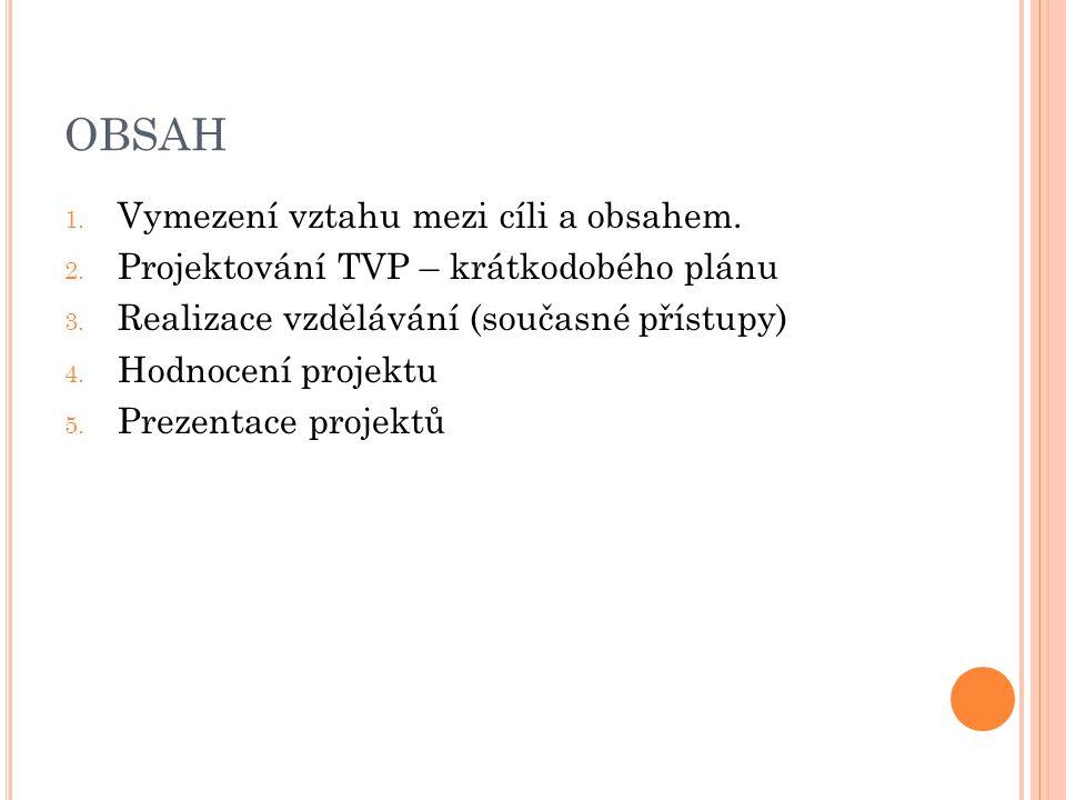 OBSAH 1. Vymezení vztahu mezi cíli a obsahem. 2. Projektování TVP – krátkodobého plánu 3. Realizace vzdělávání (současné přístupy) 4. Hodnocení projek