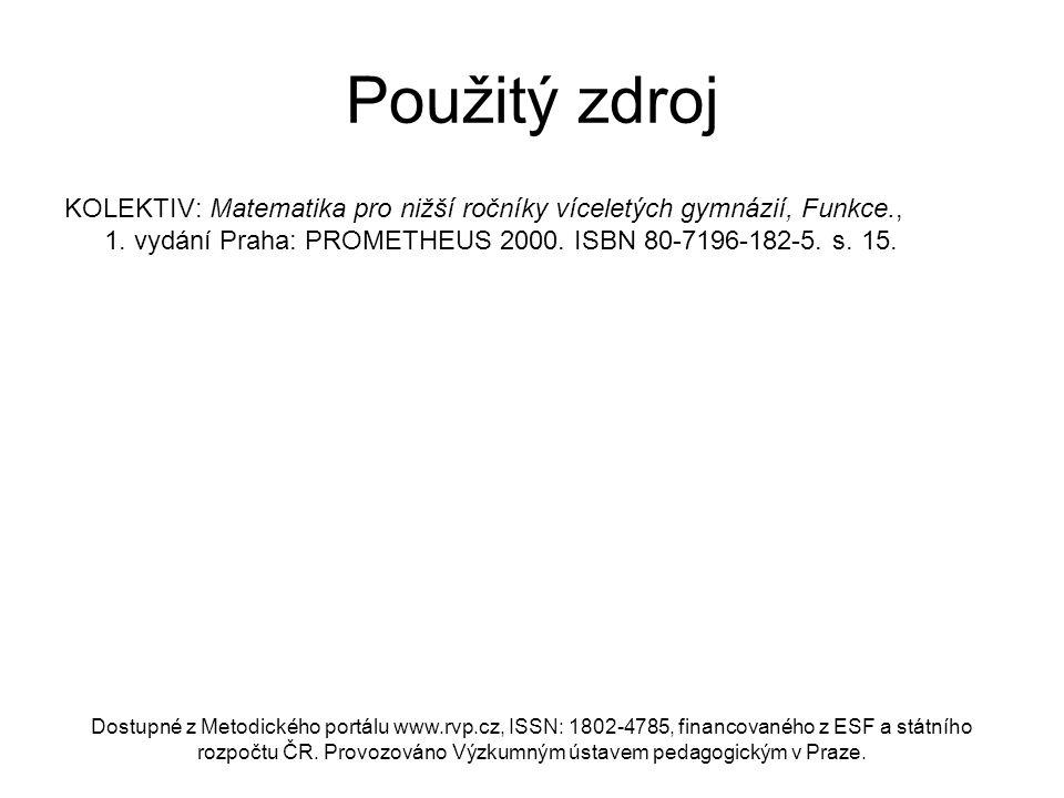 Použitý zdroj KOLEKTIV: Matematika pro nižší ročníky víceletých gymnázií, Funkce., 1. vydání Praha: PROMETHEUS 2000. ISBN 80-7196-182-5. s. 15.