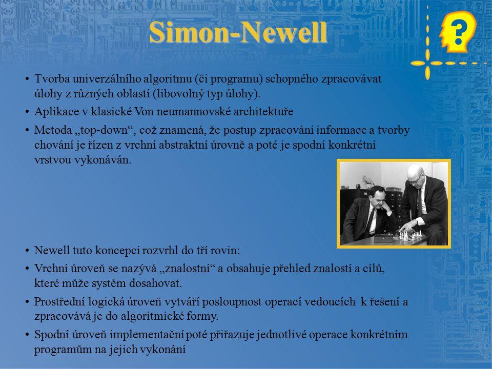 Simon-Newell Tvorba univerzálního algoritmu (či programu) schopného zpracovávat úlohy z různých oblastí (libovolný typ úlohy).