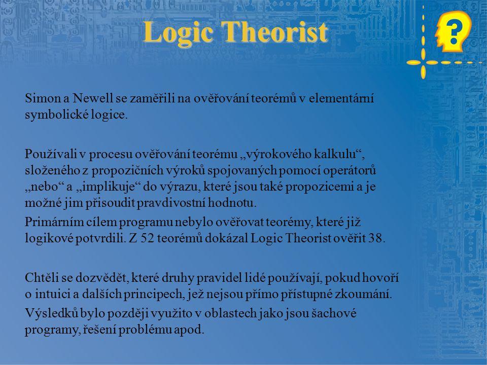 Logic Theorist Simon a Newell se zaměřili na ověřování teorémů v elementární symbolické logice.