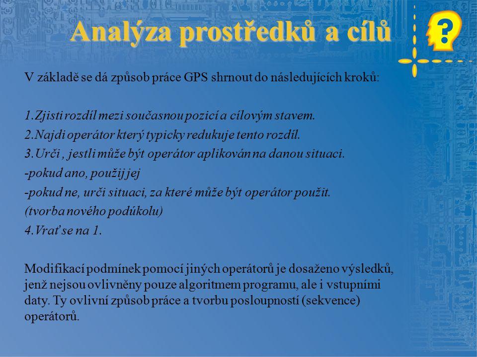 Analýza prostředků a cílů V základě se dá způsob práce GPS shrnout do následujících kroků: 1.Zjisti rozdíl mezi současnou pozicí a cílovým stavem.